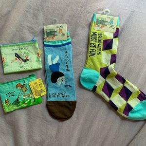 Blue Q- 2 pairs of funny socks and 2 change purses